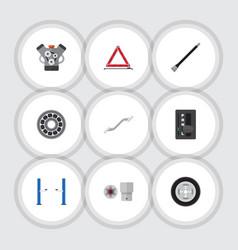 Flat icon auto set of turnscrew auto jack vector