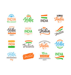 india independence day handmade lettering set vector image vector image