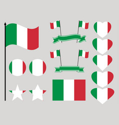 italy flag set collection of symbols heart vector image