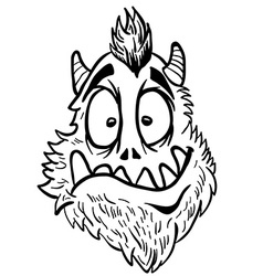 simple black and white funny looking monster vector image vector image