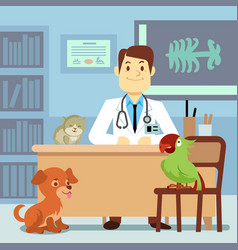 Veterinary office with doctor and pets vector