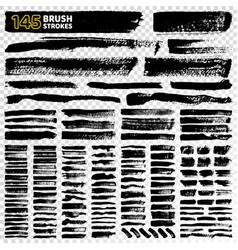 145 brush strokes types on vector image