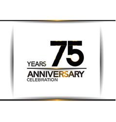 75 years anniversary black color simple design vector