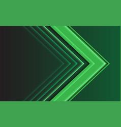 abstract green light arrow direction on dark vector image