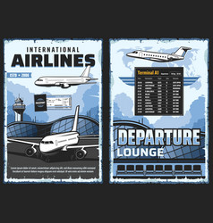 Airline airplanes and airport aircraft and travel vector