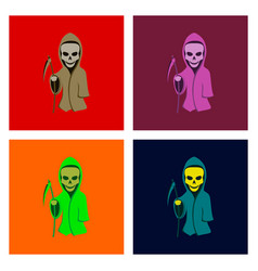Assembly flat halloween death scythe vector
