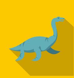 blue elasmosaurine dinosaur icon flat style vector image