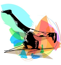 Breakdancer performing a handstand vector