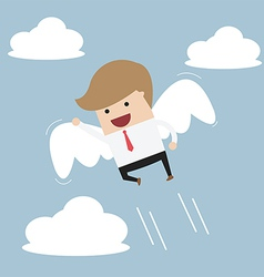 Businessman flying with wings vector image