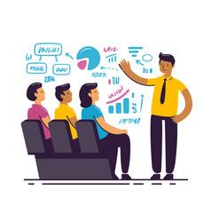 businessman giving a presentation manager vector image