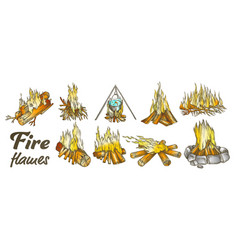 campfire collection different ink color set vector image