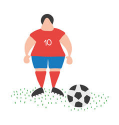 cartoon soccer player man standing with soccer vector image
