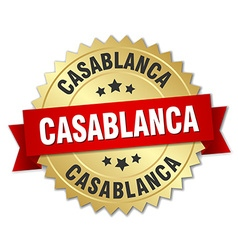 Casablanca round golden badge with red ribbon vector