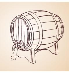 Cask of wine hand drawn vector