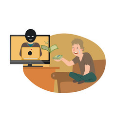 character cyber cheater steal money man cry lost vector image