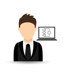 Character man with laptop grahipcs design vector