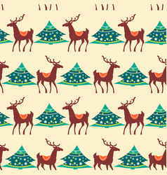 christmas seamless pattern deer and pine tree vector image