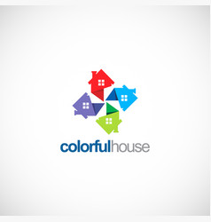 circle colorful house business logo vector image