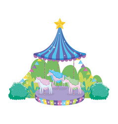 circus carousel scene in the landscape vector image