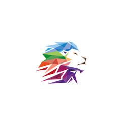 Colorful creative geometric lion head logo symbol vector