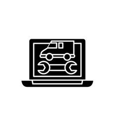 computer diagnostics black icon sign on vector image