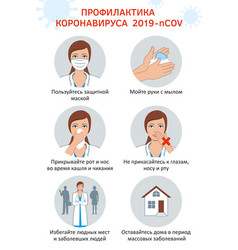 Coronavirus covid19-19 preventive measures russian vector