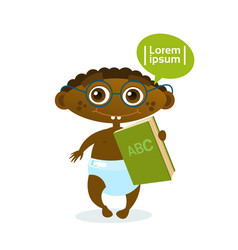 Cute african american baby boy holding book vector