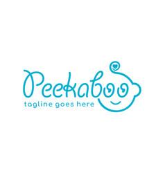 Cute baby logo designs concept doing peekaboo vector