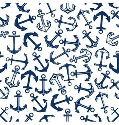 Dark or deep blue marine anchors seamless pattern vector