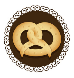 Decorative frame with realistic picture pretzel vector