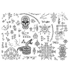 Design set with mystical symbols skull snake vector