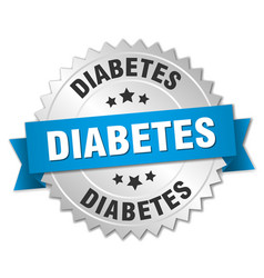 Diabetes 3d silver badge with blue ribbon vector