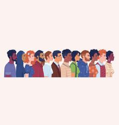 diverse people portrait men and women profile vector image