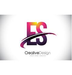 Es e s purple letter logo with swoosh design vector