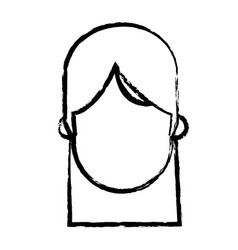 faceless head girl people sketch vector image