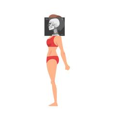 Female skull side view roentgen vector
