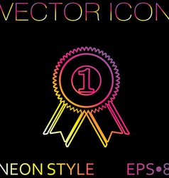 first place ribbon rosette icon victory icon vector image