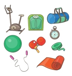 Flat Icons Set of Fitness Tools and vector