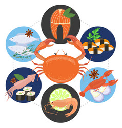 Flat sea food concept vector