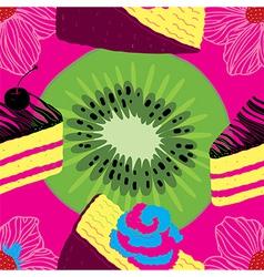 fresh seamless fruit futuristic pattern vector image