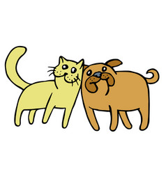friendship of a cat and a dog vector image