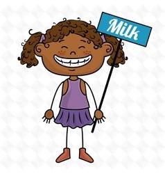 Girl milk box drink vector