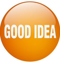 Good idea orange round gel isolated push button vector