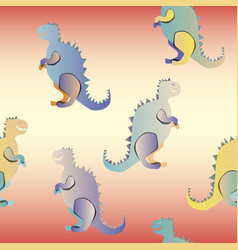 gradient dinosaurs on the red background vector image