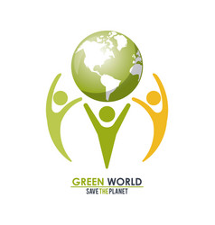 group of people holding a green globe world vector image