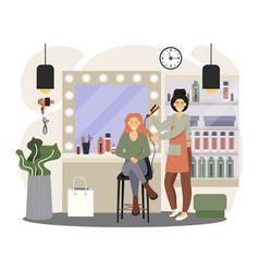 Hair salon interior professional hairdresser vector