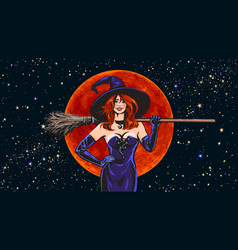 Halloween beautiful witch holding broomstick vector
