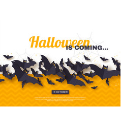 halloween holiday design paper cut style flying vector image