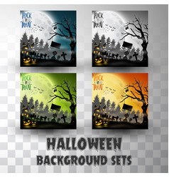 halloween silhouette background sets vector image