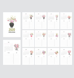 Hand draw calendar 2020 and planner with garden vector